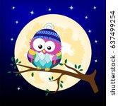 cartoon owl in the winter hat...