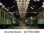cargo trains in old train depot | Shutterstock . vector #637501480