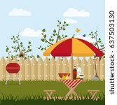 hand drawn poster picnic in the ... | Shutterstock .eps vector #637503130