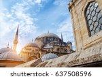 mosque in istanbul  turkey.... | Shutterstock . vector #637508596