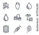 blood icons set. set of 9 blood ...