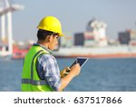 engineer recording information... | Shutterstock . vector #637517866