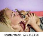 teenage girl with her dog... | Shutterstock . vector #637518118