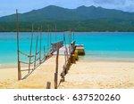 mystery island wharf | Shutterstock . vector #637520260
