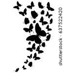 black butterfly  isolated on a... | Shutterstock .eps vector #637522420