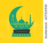 moon with mosque banner with... | Shutterstock .eps vector #637524550