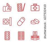 set of 9 illness outline icons...   Shutterstock .eps vector #637532410