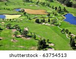 aerial view of northern california golf course - stock photo