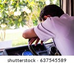 bus driver wearing a white... | Shutterstock . vector #637545589