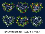 spring quotes on hearts of... | Shutterstock .eps vector #637547464