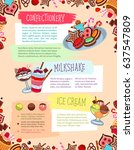 bakery desserts and... | Shutterstock .eps vector #637547809