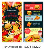 fast food vector menu with... | Shutterstock .eps vector #637548220