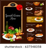 spanish restaurant vector menu. ... | Shutterstock .eps vector #637548358