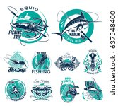 fishing trip vector icons for... | Shutterstock .eps vector #637548400