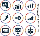 set of 9 increase filled icons... | Shutterstock .eps vector #637550164