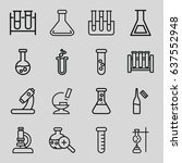 set of 16 lab outline icons... | Shutterstock .eps vector #637552948