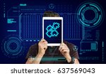 jigsaw puzzle teamwork... | Shutterstock . vector #637569043