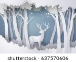 Deer In Forest With Snow.vector ...