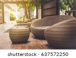 outdoor furniture rattan... | Shutterstock . vector #637572250
