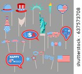 independence day photo booth... | Shutterstock .eps vector #637573708