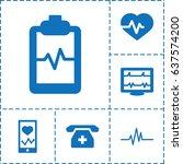 cardiogram icon. set of 6... | Shutterstock .eps vector #637574200