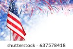 usa flag and bokeh background... | Shutterstock . vector #637578418