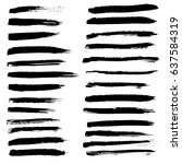 ink vector brush strokes set.... | Shutterstock .eps vector #637584319