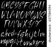 hand drawn dry brush font.... | Shutterstock .eps vector #637584394