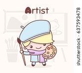 cute chibi kawaii characters.... | Shutterstock .eps vector #637593478
