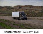 black kenworth tractor pulling... | Shutterstock . vector #637594168