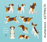 Stock vector cute beagle dog lively actions vector illustration flat design 637598170