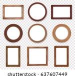 wooden vintage frames... | Shutterstock .eps vector #637607449