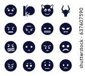 angry icons set. set of 16... | Shutterstock .eps vector #637607590