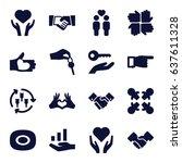 hands icons set. set of 16... | Shutterstock .eps vector #637611328