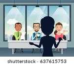 job interview with smiling... | Shutterstock .eps vector #637615753