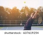 Tennis match which a serving...