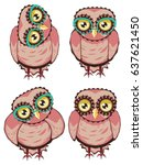 Cute Cartoon Stylized Owl With...