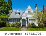 classic craftsman house in... | Shutterstock . vector #637621708