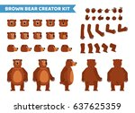 Stock vector brown bear creation set various gestures emotions diverse poses views create your own pose 637625359
