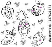 cute fruit hand draw doodles | Shutterstock .eps vector #637625878