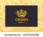 wheat crown logo   vector... | Shutterstock .eps vector #637631038