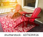 house patio with red chair and... | Shutterstock . vector #637634416