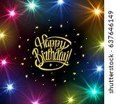 happy birthday sign.hand drawn...   Shutterstock .eps vector #637646149