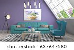interior living room. 3d... | Shutterstock . vector #637647580