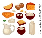 dairy products colorful vector... | Shutterstock .eps vector #637649638