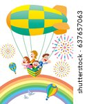 family trip by hot air balloon | Shutterstock . vector #637657063