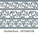 tiny cute hand drawn elephants... | Shutterstock .eps vector #637666528