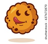 cartoon cookies with tongue.... | Shutterstock .eps vector #637672870