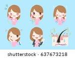 cute cartoon woman with bikini... | Shutterstock .eps vector #637673218