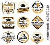 vintage student graduate vector ... | Shutterstock .eps vector #637673230